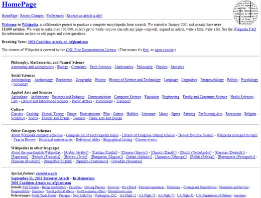 Wikipedia.com circa 2001