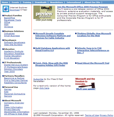 Microsoft.com circa 1998