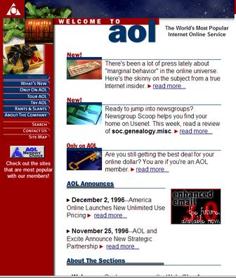 AOL.com website circa 1996