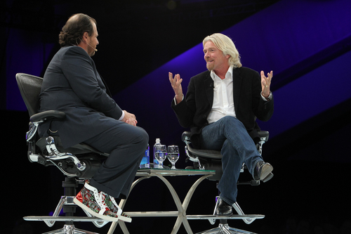 Salesforce.com CEO Marc Benioff speaks to Virgin chairman Richard Branson