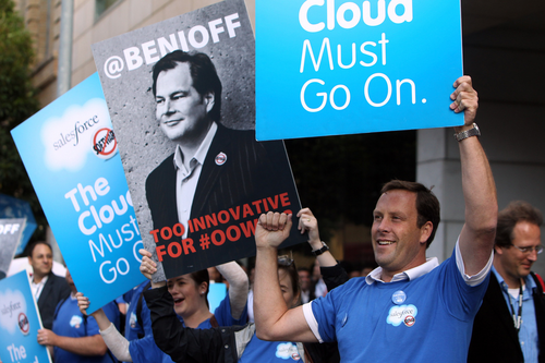 Marc Benioff did a rogue keynote after Oracle CEO Larry Ellison canceled his official one at OpenWorld 2011