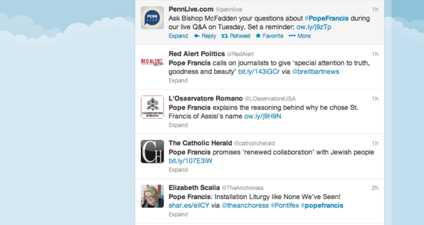 Twitter tweets featuring #popefrancis
