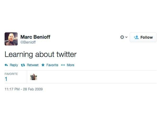 Screenshot of Marc Benioff's first tweet from February 28, 2009 which said Learning about twitter