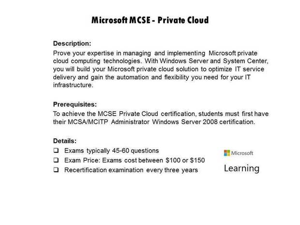 Microsoft MCSE - Private Cloud certification