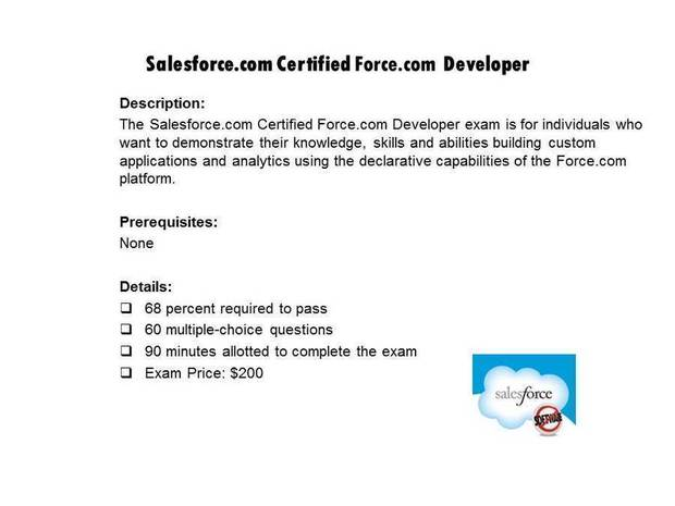 Salesforce.com Certified Force.com Developer certification