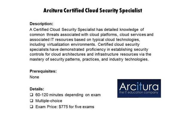 Arcitura Certified Cloud Security Specialist certification