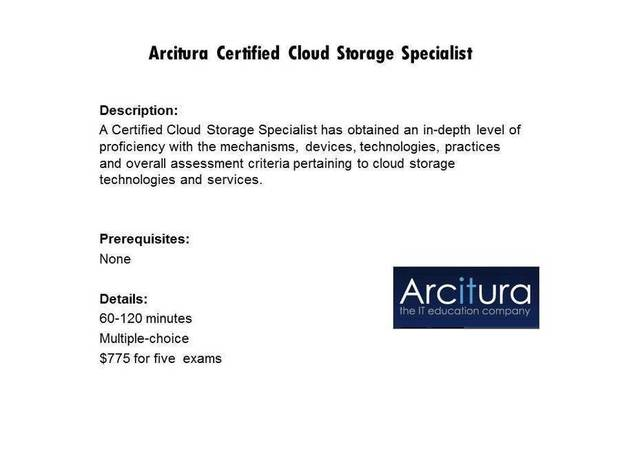 Arcitura Certified Cloud Storage Specialist certification