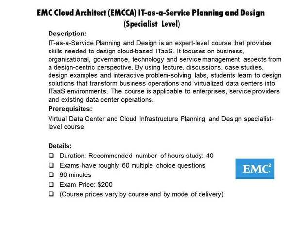 EMC Cloud Architect (EMCCA) IT-as-a-Service Planning and Design certification