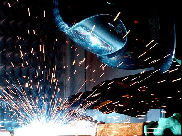 A man gas metal arc welding