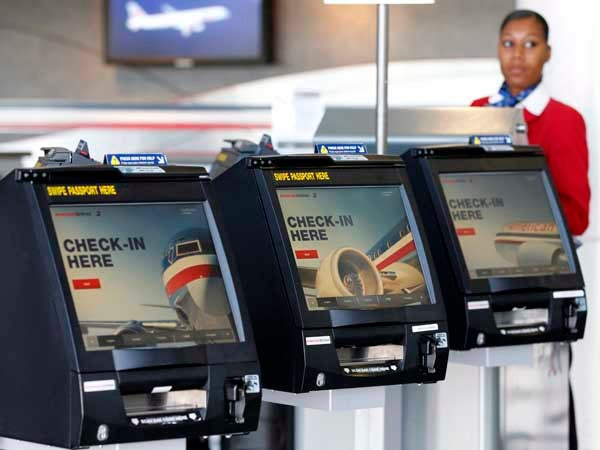 American Airlines travel self-check in kiosk