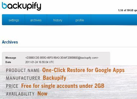 Backupify One-Click Restore for Google Apps