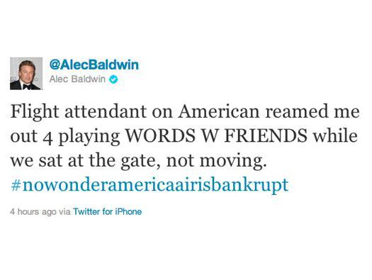 Alec Baldwin gets booted for playing iPhone game