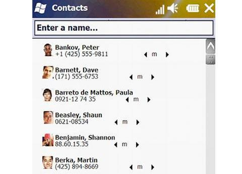 Windows Phone contacts screen
