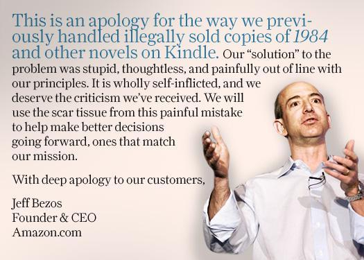 Amazon apologizes for Kindle book deletions