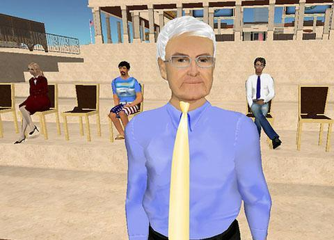 Newt Gingrich gives a speech in Second Life