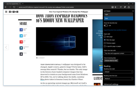 Microsoft Edge running in dark mode on Windows 10 build