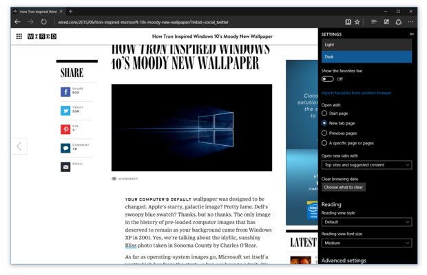 Microsoft Edge running in dark mode on Windows 10 build