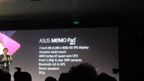 Asus's Memo Pad HD7 tablet specs