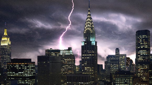 Concept art of a storm hitting NYC