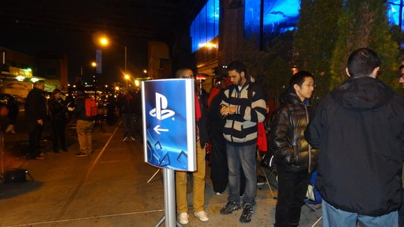 Waiting for PlayStation 4 outside New York's Standard High Line hotel