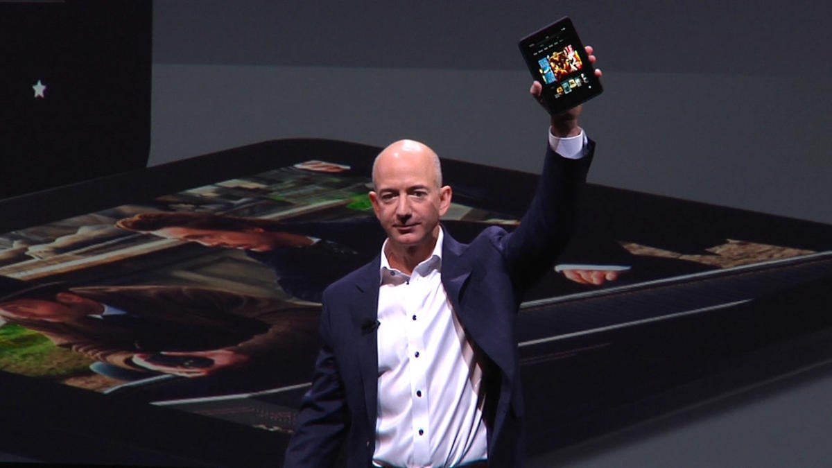 Jeff Bezos with the Kindle Fire