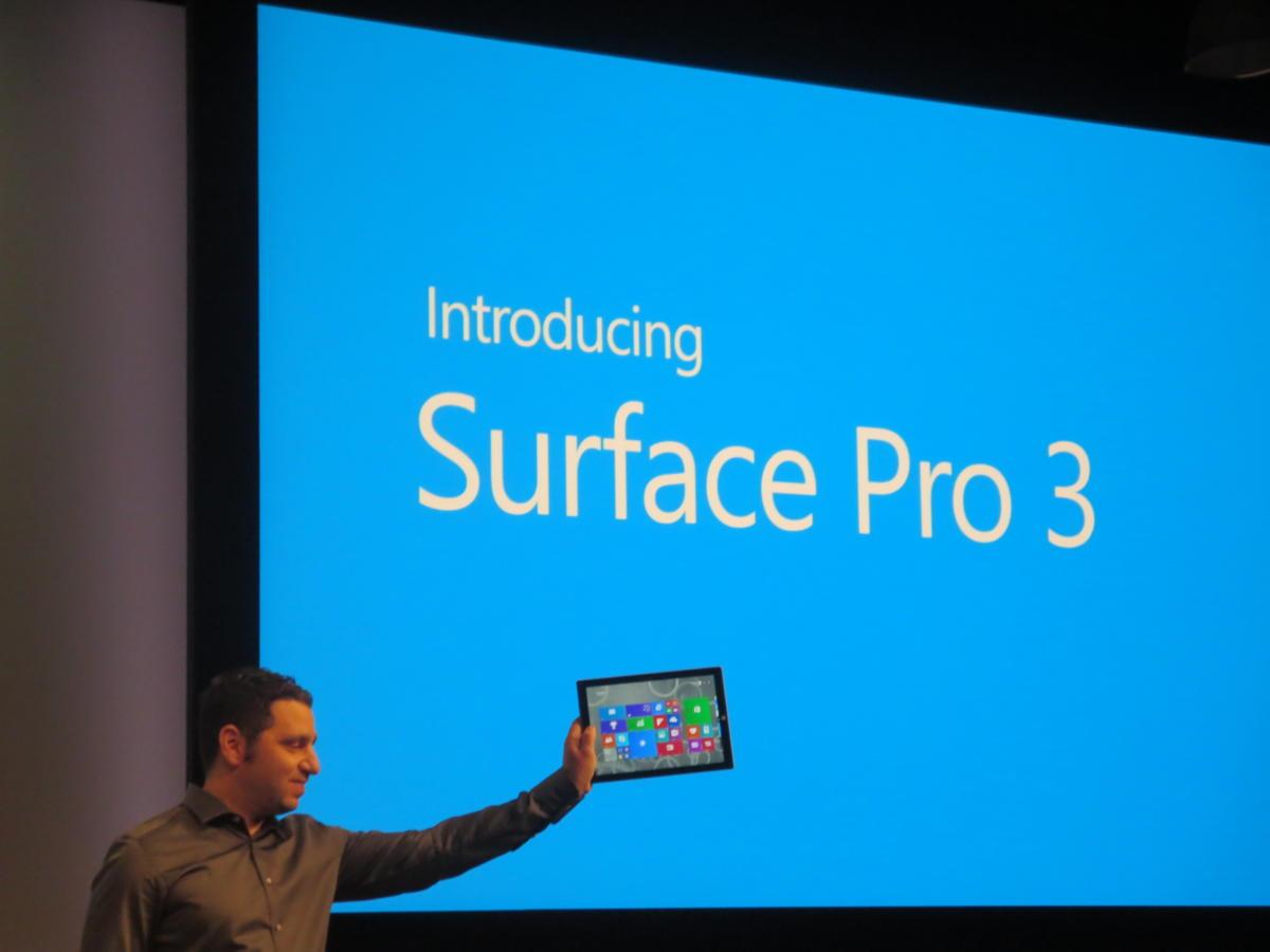Microsoft Surface Pro 3 se muestra en el escenario